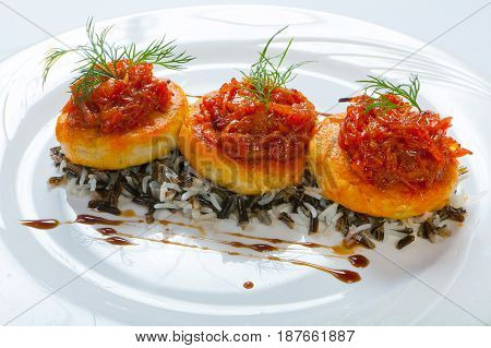 Cutlet In A Spicy Tomato Sauce With Rice