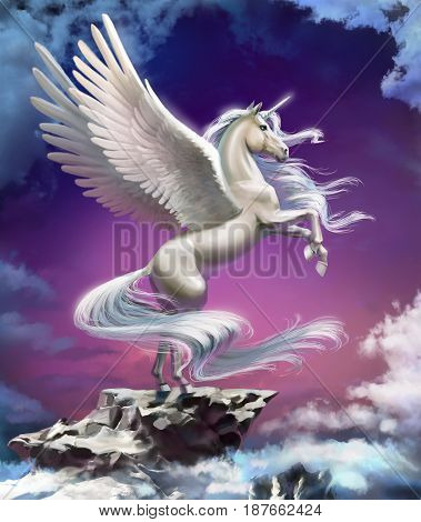 Unicorn with wings standing against the sunset background