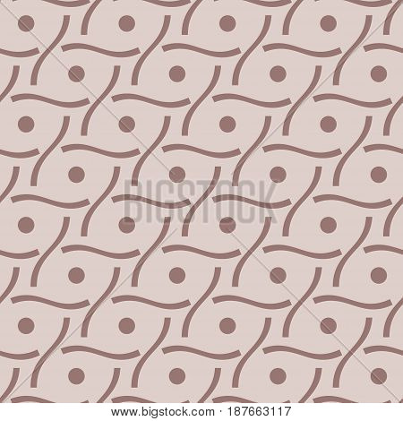 Geometric seamless background. Brown wallpaper with dotted elements. Vector illustration