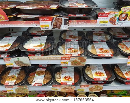 CHIANG RAI THAILAND - MAY 8 : instant frozen food and dessert in packaging for sale on supermarket stand or 7-Eleven shop on May 8 2017 in Chiang rai Thailand.
