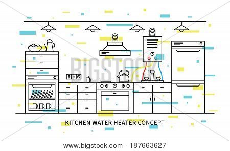 Kitchen water heater geyser vector illustration with colorful elements. Kitchen interior with domestic boiler graphic design.
