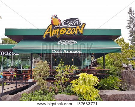 LAMPANG THAILAND - MAY 6 : Amazon Cafe in PTT gas station famous coffee shop chain in gas station on May 6 2017 in Lampang Thailand.