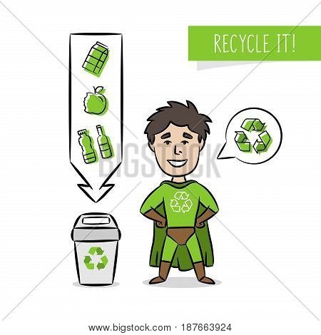 Superhero with recycle sign vector illustration. Recycling creative concept with cartoon character and dustbin. Ecological banner template.