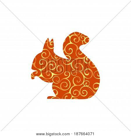 Squirrel rodent mammal color silhouette animal. Vector Illustrator.