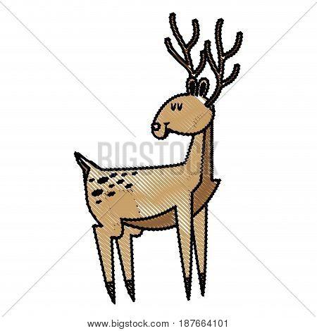 cute deer cartoon christmas horn image vector illustration