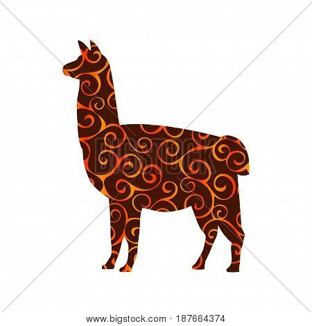 Lama mammal color silhouette animal. Vector Illustrator.