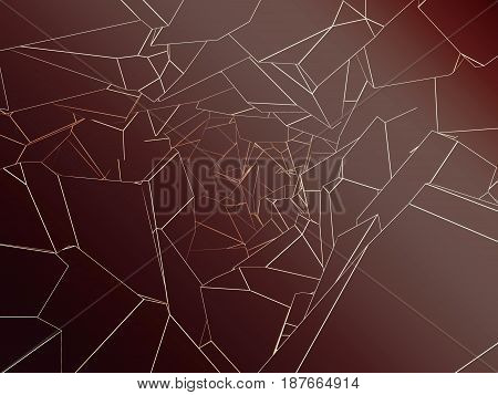 abstract polygonal cavern with broken lines 3d rendering