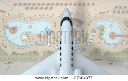 private airplane fly above resort zone. top view. 3d rendering