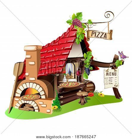 Cheerful pizzeria. Fabulous building with a stove. Vector illustration.