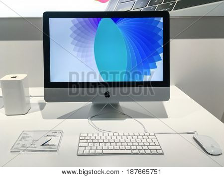 Krakow Poland - May 21 2017: New Apple iMac 215 in the iSpot Apple Premium Reseller store for sale.