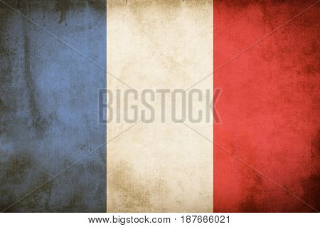 Old Grunge Flag of france, vintage emblem