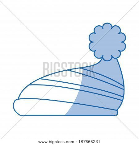 winter knitted hat with pompon, style winter accessory vector illustration
