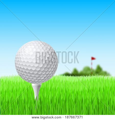 Golf Ball and Red Flag on Green Grass