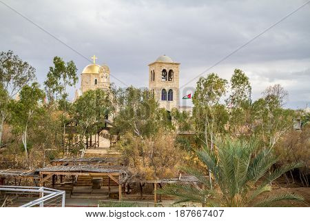 Qasr el Yahud or Al-Maghtas The Greek Orthodox St. John the Baptist Church on the bank of the Jordan view from the side of Israel