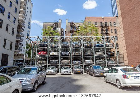 New York USA- May 20 2014. Automated car parking system service in New York City.