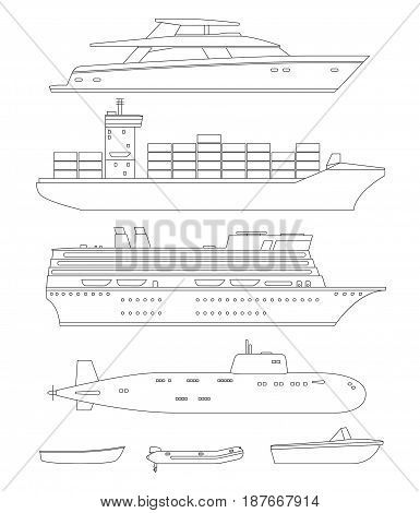 Ships and boats line icons. Vector thin illustration of submarine, boats, cruise ship and cargo ship.