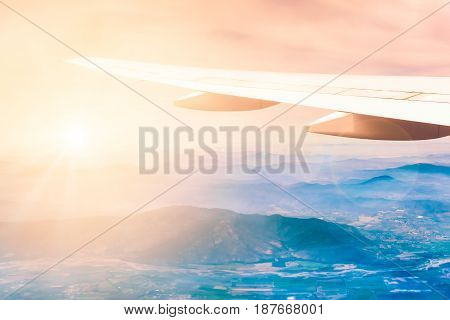 Aircraft Wing With Mountains On The Background