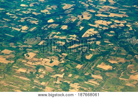 Aerial View Of The Fields And Villages