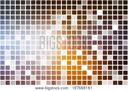 Brown Orange White Occasional Opacity Mosaic Over White