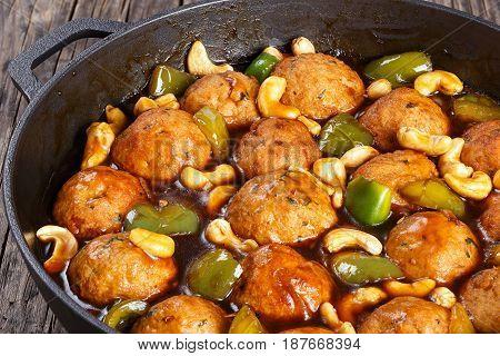 Chinese Cashew Chicken Meatballs  In Saucepan
