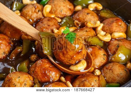One Meatball On Wooden Spoon, Close-up