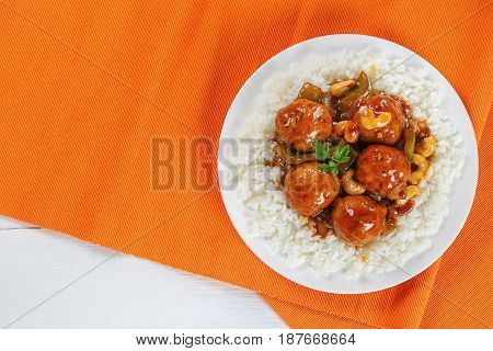 Basmati Rice With Chicken Meatballs In Sauce