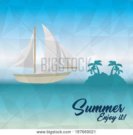 Sea and sailboat with island silhouette and summer sign. Vector illustration.
