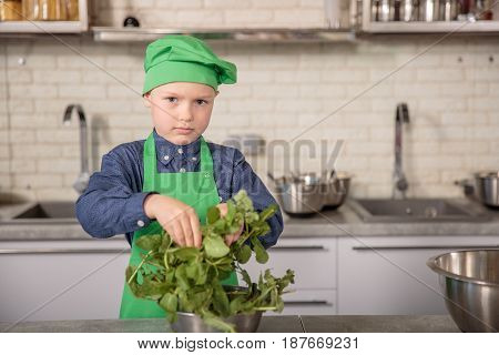 Baby in a chef's hat and apron at kitchen puts greenery in the pan