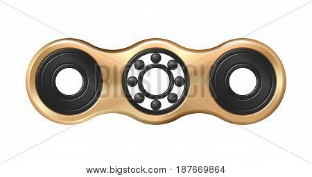 Hand fidget spinner toy - stress and anxiety relief. Golden metallic.