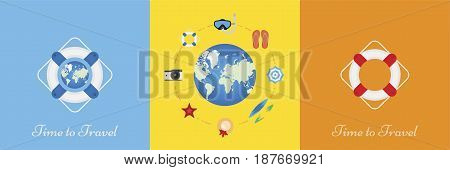 Set of vector elements on the theme of tourism and recreation. Elements on the background of the globe. Flat vector illustration EPS 10.