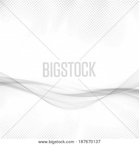Futuristic modern hi-tech abstract swoosh vibes lines. Vivid halftone speed transparent gradient swoosh wave over white background. Vector illustration