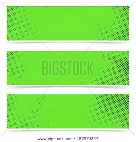 Bright green old style pop art header flyer collection. Polka-dot particle header footer web cards. Vector illustration