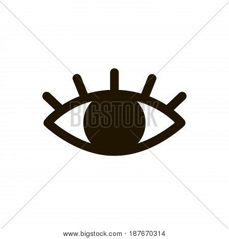 eye icon. vector eyelashes. Doodle sign isolated on white background. Look and vision logo. Simple line element for memphis style design