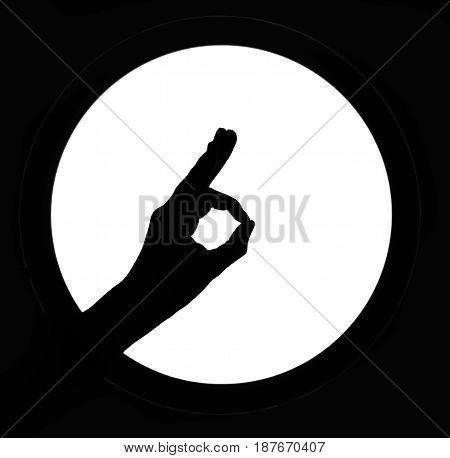 Woman hand silhouette OK simbol white round background sign Good.