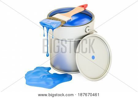 Can with blue paint and brush 3D rendering