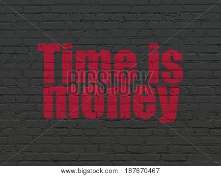 Finance concept: Painted red text Time is Money on Black Brick wall background