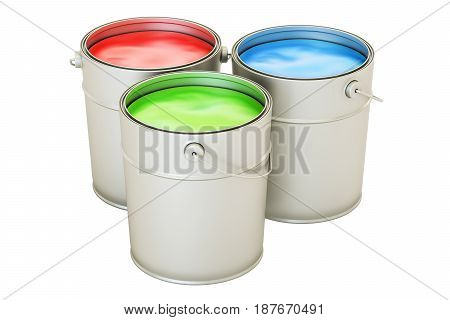 Cans with color paint RGB concept. 3D rendering isolated on white background
