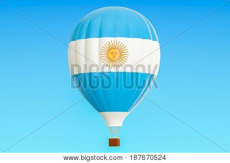 Hot air balloon with Argentina flag 3D rendering