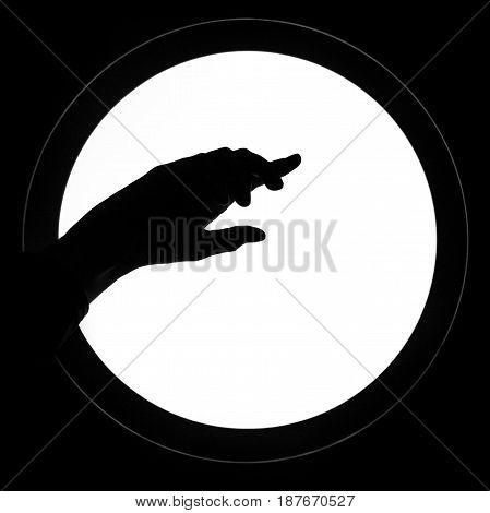 Woman hand silhouette white background forefinger points on. Black and white photo picture