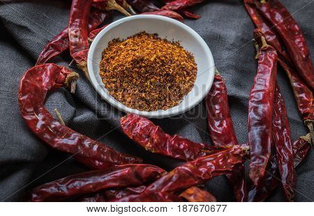 Top View Of Dry Red Chili And Chili Powder