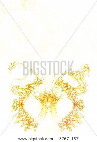 Ornamental Butterfly and white background. Yellow butterfly