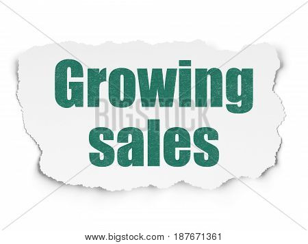 Business concept: Painted green text Growing Sales on Torn Paper background with  Tag Cloud