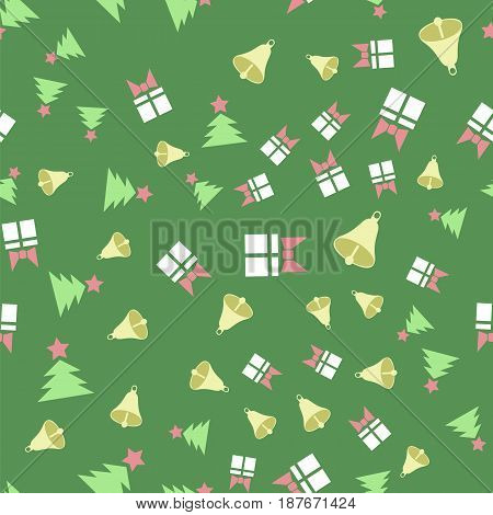 Winter Christmas Seamless Pattern on Green Background