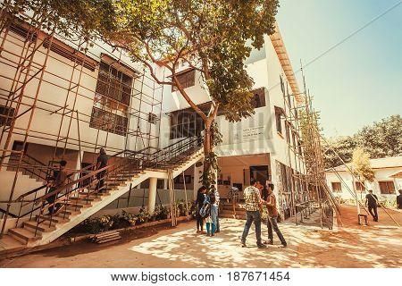 BANGALORE, INDIA - FEB 14, 2017: People visiting the popular art center Karnataka Chitrakala Parishath on February 14, 2017. With population 8.52 million Bangalore is the third most populous indian city