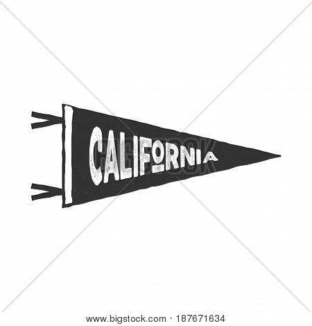 Vintage hand drawn pennant template. California sign. Retro textured, letterpress effect. Outdoor adventure, monochrome retro style. Vector isolated on white background.