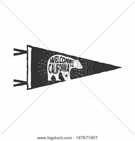 Vintage hand drawn pennant template. Welcome to California sign and bear symbol. Retro textured, letterpress effect. Outdoor adventure style. Stock Vector isolated on white background.