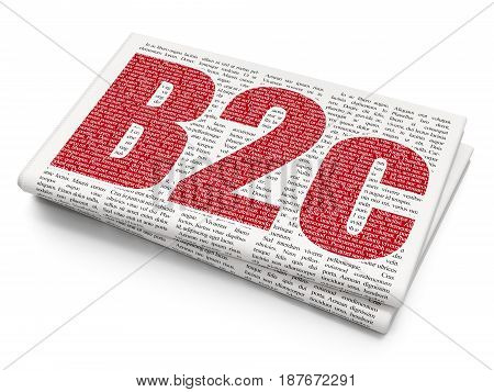 Finance concept: Pixelated red text B2c on Newspaper background, 3D rendering