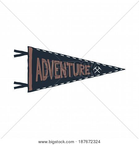 Adventure pennant design. Monochrome pendant template. Typography pennant isolated on white background. Stock Vector illustration isolated on white.