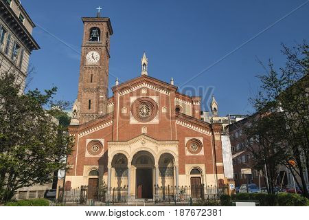 Milan (Lombardy Italy): exterior of the Sant'Eufemia church built from the 16th century in neo-Romanesque and neo-Gothic style
