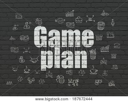 Finance concept: Painted white text Game Plan on Black Brick wall background with  Hand Drawn Business Icons